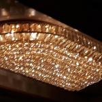 crystal like ceiling lamp above the buffet counters