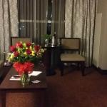 Living room in the 2 room suite. Complimentary roses and champagne for our anniversayr!