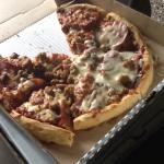 This is the pizza I received not sure why it only has cheese in some spots