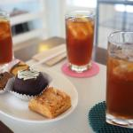 Sweet iced tea and pastries