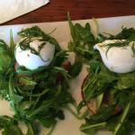 Avocado Tartine with poached eggs. Nice but the leaves were a bit salty for my taste