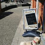 """""""Dog friendly"""" OUTSIDE the cafe."""