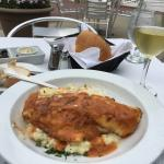 Fabulous red snapper with shrimp risotto.