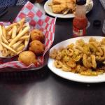 Clam cakes fries and calamari; all fresh, hot and yummy. I would go here again!!