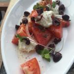 Caprese with Buffalo mozzarella, local tomatoes, Kalamata olives.