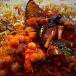Muttar Panir, aubergine & Pilau Rice
