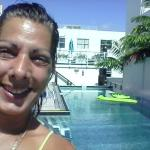 Hanging out by the pool at posh hotel in Miami Florida south beach