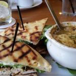 Chicken Club on Grilled Flatbread and French Onion Soup