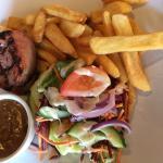 Steak chips & salad