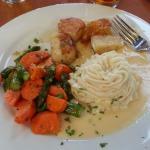 Sauteed Scallops, Potatoes and carrot/asparagus