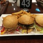 Trio of burgers and a pulled pork burger