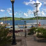 The view of the pedestrian walk outside our room's window looking down to the Lunenburg waterfro