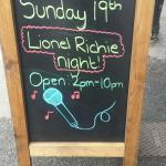 Open 2pm -10pm Sunday 19th for the up and coming Lionel Richie concert