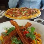 Gorgeous pasta and pancetta dish and amazing meat feast pizza