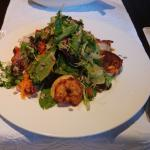 Excellent salad with tiger prawns.