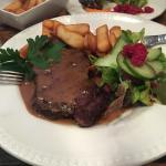 Steak with pepper sauce