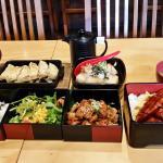 """""""Teriyaki Chicken Tower Lunch Box + Gyoza Combo"""", """"Una Don"""", """"Agedashi Tofu"""""""