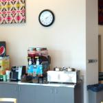 This is the serve yourself beverage area inside the Kinship Cafe.