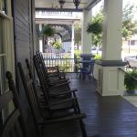 Front porch looking down the street at other porches