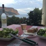 Our take-out dinner, B&B balcony