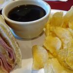 "Half of my ""Mr. Crunchy"" ham and cheese sandwich."