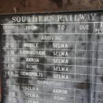 Old Depot Museum - Southern railway schedule sign