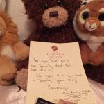 Thoughtful note by our daughter's stuffed animals
