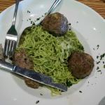 Angel Hair pasta with Marvelous Basil & Pine nut Pesto & huge Italian herblicious meatballs