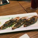 Mushroom foie gras crostini with 5 huge pieces, yummy.