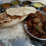 Devilled mutton thali ( half rice n half rotti)