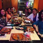 Enjoying dinner with friends