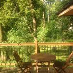 Outside seating area of lodge