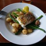 Hake with new potatoes, local asparagus and herb butter