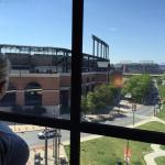 View of Orioles Park at Camden Yards and the Ravens stadium in the distance.