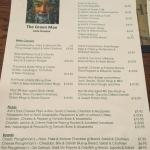 Menu and pics of food from head chef