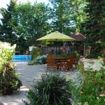 Back gazebo, picnic tables/umbrella and pool.