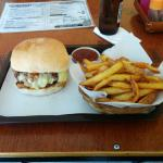 Red chili burger & small fries