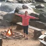 Innkeeper Becky getting the bonfire ready for guests!