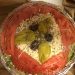 Large Greek Salad . . . the dressing is on the side and it feeds 2 - 4 easily