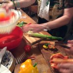 cutting up peppers for our antipasto dish..divine!!!