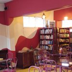 The seating area and library