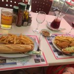 Escalope and sausage baguettes, beer and sangria