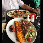 Chicken kebab and salad, for me mixed chicken and lamb for Ian, house wine and sparkling water
