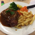 This was food from their restaurant. $11.50 for steak + chips + vegetables. Best baragin ever
