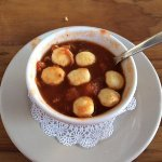Conch soup with oyster crackers
