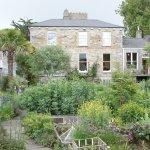View of the Dillon house through the garden