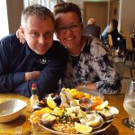 Kevin (Owner) and Melanie (sister) with the seafood platter