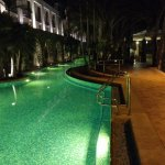 the pool's side branch at night