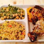 Roasted chicken, quinoa, chickpeas with kale