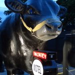 """""""Boris the Bull"""" located behind their sign makes this place easy to find!"""